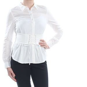 XOXO Cuffed Collared Button Up Corset Top White